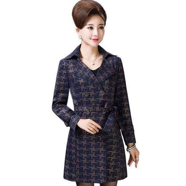 Neue 2019 Trenchcoat für Frauen Elegante Damen Blazer 5XL Druck Mantel plus Größe hochwertige Kleidung mittleren Alters K4465