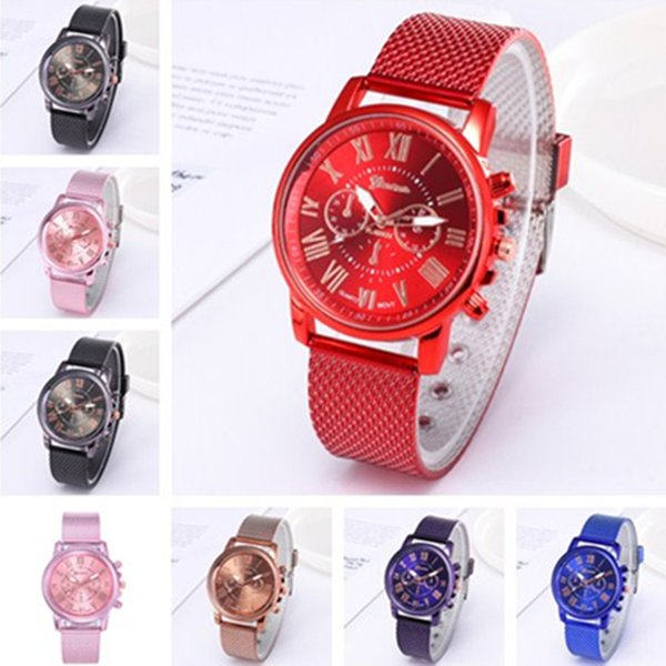 Luxury GENEVA watch Plastic Mesh Belt Quartz Waist watches Women Men Brand Dual Colors Rubber Strape Watch for Casual Sports Business Style