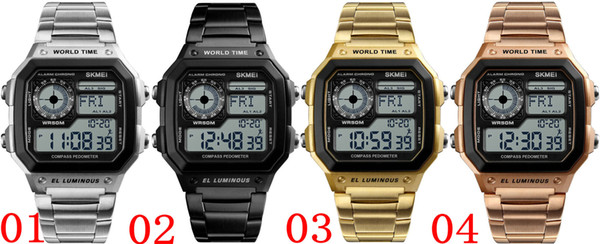 SKMEI Compass Countdown Digital Sports Watches Mens Watches Luxury Pedometer Calories Waterproof Men Wrist Watch Clock 1382