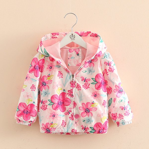 good quality autumn children girls outerwear bebe flowers sport coat hoodies windbreaker baby coat clothes casual jackets for kids