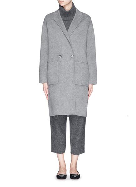 2018 Fall Winter Grey Simple Wool Maxi Long Coat Women Notched Lapel Career Overcoat