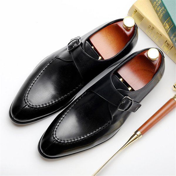 Genuine cow leather brogue Wedding banquet shoes mens casual flats shoes vintage handmade oxford for men black brown 2019