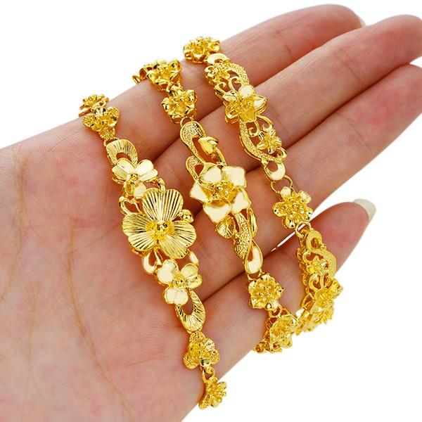 24Kgold flower Bracelet accessories simulation Gold placer Gold 24K Gold plated Bracelet female & do not fade