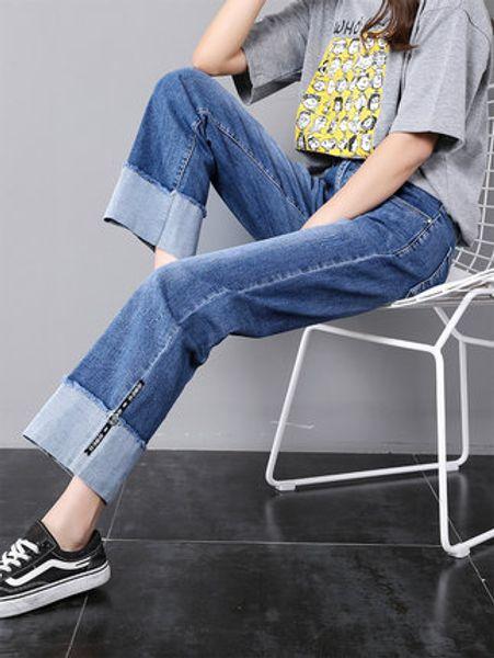 Calça jeans reta solta 2019 novo início de emagrecimento outono altas senhoras nove pontos de cintura alta calças largas nas pernas