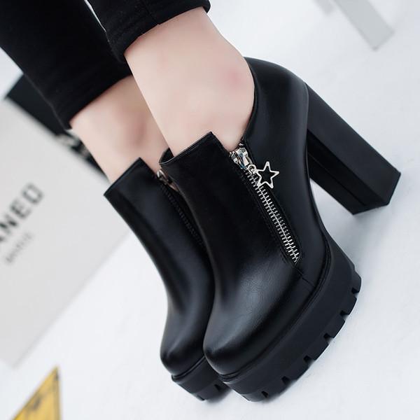 Siyah PU Deri Ayak Bileği Çizmeler Kadınlar Için Kalın Topuklu Pompalar 2018 Kış Platformu Yüksek Topuklu Ayakkabı Kadın Patik Zapatos Mujer