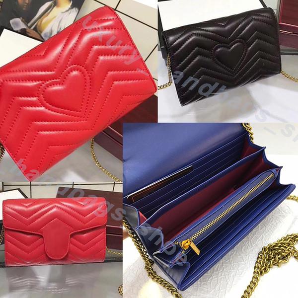 best selling Luxury wallet Designer Handbags caviar metal chain Genuine Leather bag Flip cover diagonal Shoulder Bags Embossed logo designer wallet