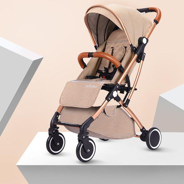 Four Wheel Suspension Lightweight Baby Stroller Foldable Portable Baby Trolley Traveling Pram Pushchair High Landscape Stroller