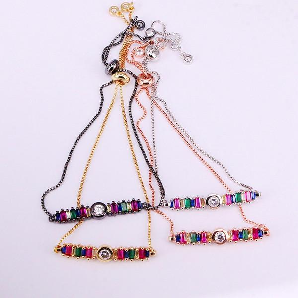 6 stücke, regenbogen bar gliederkette charme slider armbänder brillante bunte zirkonia cz micro pave dame girl kristall schmuck geschenke