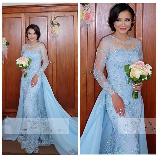 2019 luz azul mangas compridas sereia vestidos de duas peças lace formal vestidos de baile com destacável saia vestidos de soirée árabe dress
