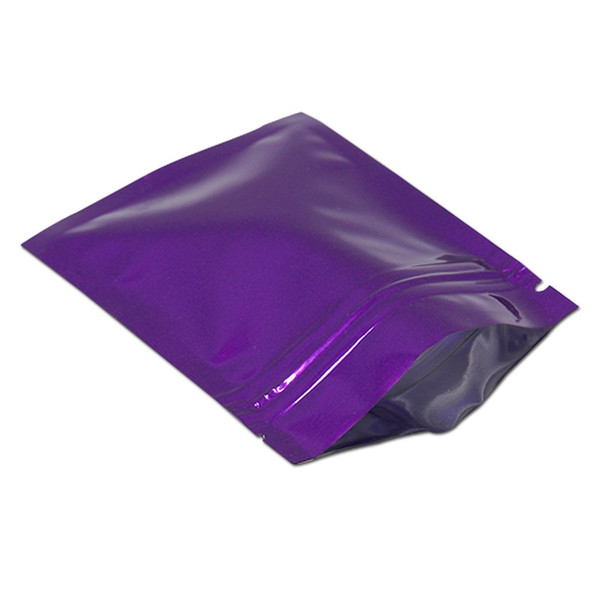 200pcs 7.5*10cm purple mylar packing pouches bags food zipper seal package bags for candy coffee tea sample pack bags reusable sample bag