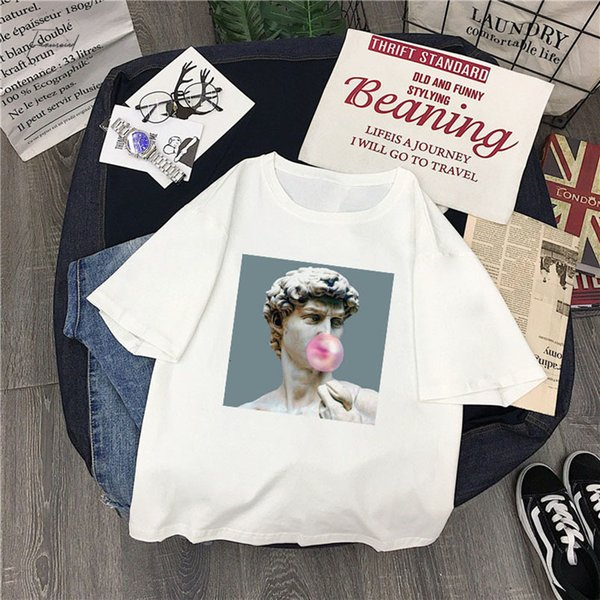 Summer Vaporwave David Japanese Cartoon New Fashion Print Letters Female Short Sleeved Large Size Shirt 2Xl Loose O Neck S