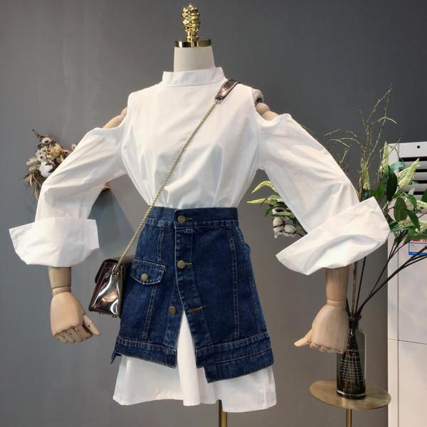 Femmes Deux Pièce Robe Ensembles Dame 2018 Été Automne Nouveau Blanc À Manches Longues Chemise Décontractée Robe + Femme Cowboy Jupe B941