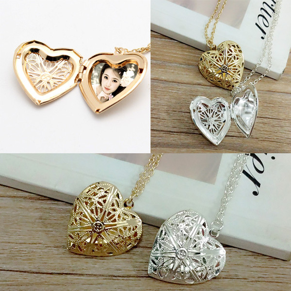 Open Locket Necklace Valentine Lover Gift Photo Phase box Necklaces Frames Jewelry For Women Girlfriend Gift Heart Pendant Necklace