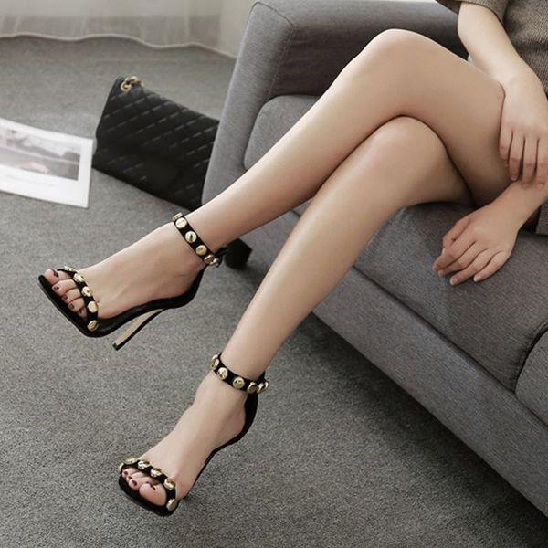 Gerçek Görüntü Kadın Sandalet Parti Ayakkabı Perçinler Seksi Toka Askı Yüksek Topuklu Custom Made Artı SU4-US15 Parti Bayanlar Ayakkabı Ucuz Mütevazı