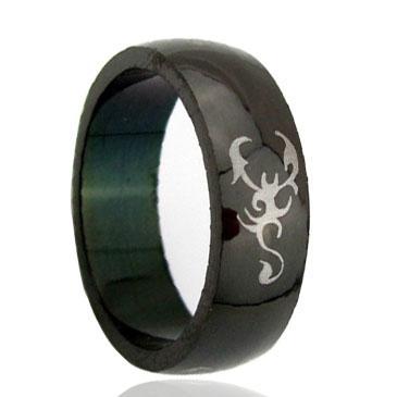 Custom Brush Black laser engraving pictured Tungsten Ring wholesales 8mm