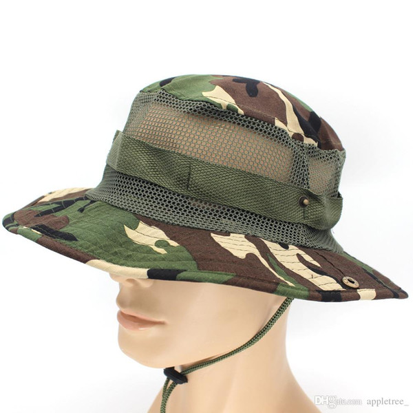 Camouflage Boonie Hat Jungle Military Cap Designer Foldable Cowboy hats Men Women Army Bucket caps Adults Sport Fishing hat