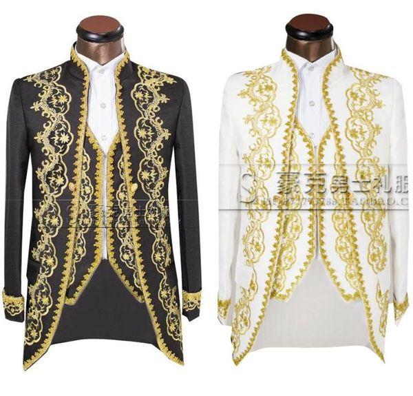 (Ceket + pantolon + yelek) Altın 2016 Moda Erkekler takım elbise Slim Fit tailcoat Damat düğün Hüsniye Moda Suit İşlemeli Erkek İçin Smokin