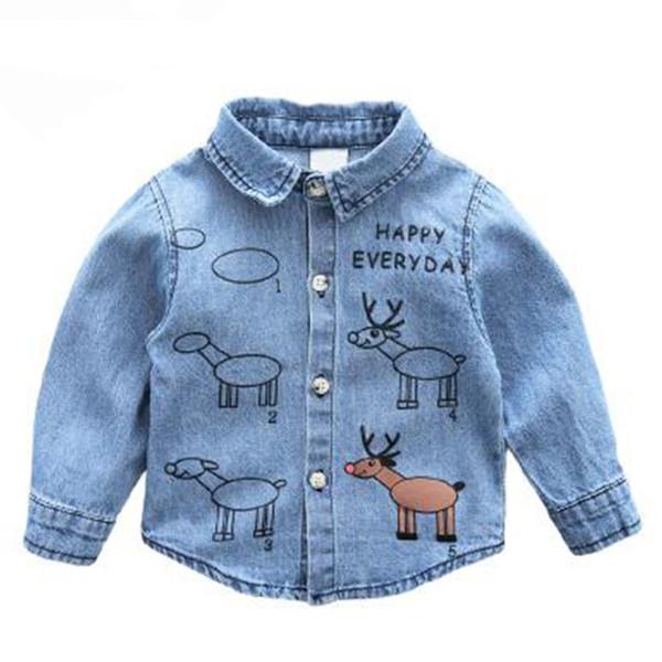 Mode Printemps Garçons Chemises À Manches Longues Shirt Enfants Vêtements Turn-Down Adolescents Enfants Denim Chemises Enfants Filles Blouse