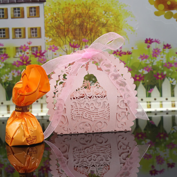 30PCS Handmade Laser Cut Candy Boxes with Ribbons Wedding Party Favor Birthday Gift Sweet Boxes Wedding Accessory