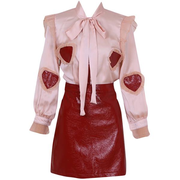 New sexy moda feminina arco laço de tecido de cetim amor coração bordado blusa e uma linha curta de couro PU saia twinset vestido terno