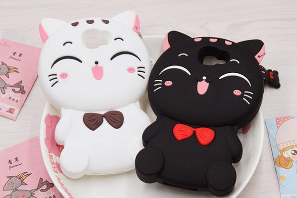 TOP 3D Cute Cartoon Fortune Smiling Cat Phone Case for Samsung For iphone xs max Soft Silicone Cover Coque Fundas