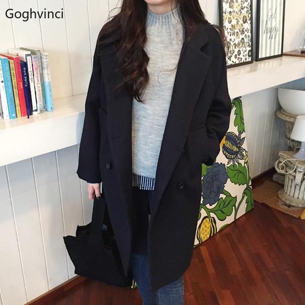 Шерсть Женщины Черный Твердые Двубортные All Matchs Женские Длинные Пальто Корейский Стиль Новая Мода Harajuku Женщины Повседневная Одежда