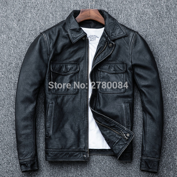 Factory Genuine Leather Jacket Men's Coat Spring and Autumn Motorcycle Male Cowhide real leather outwear man suit