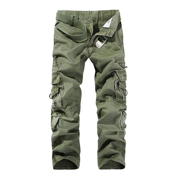 Laamei 2018 Pantalones cargo de los hombres Verde del ejército Bolsillos grandes decoración para hombre Pantalones casuales Lavado fácil pantalones masculinos de otoño más el tamaño 42