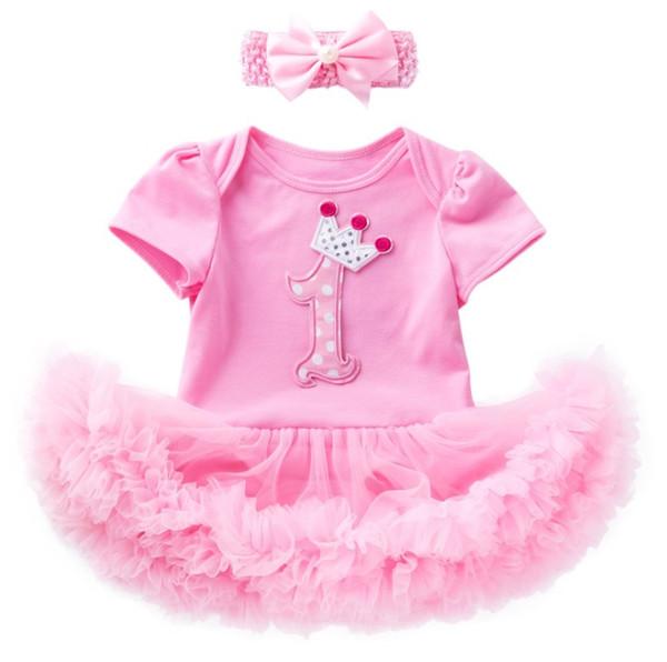 Neugeborene Mädchen 1. 2. Geburtstag verkleiden sich einteilige Strampler Röcke Tutus mit Stirnband Kleinkind Säuglingsgeschenke Party Kleidung gesetzt Krone