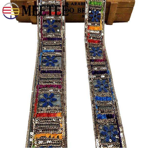 Meetee Ethnic Gold Thread Bordados de encaje Bordados Lentejuelas Cintas Cintas Cinta Puños Collar Apliques de encaje DIY Accesorios de costura RC129