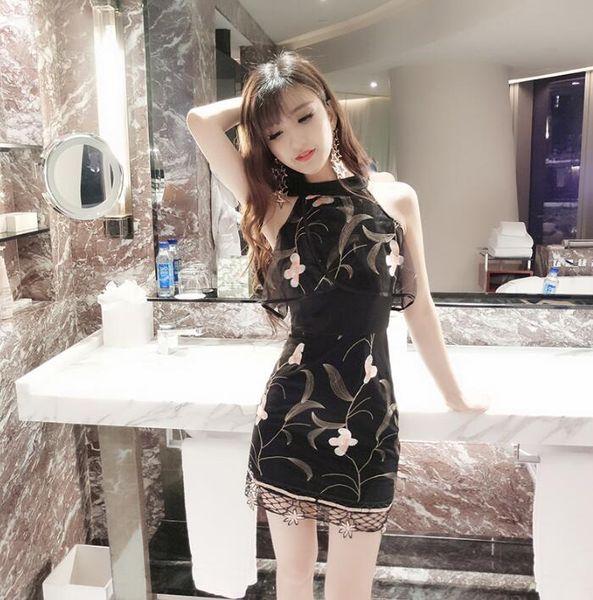 Club nocturno 2019 desgaste de las mujeres verano nueva moda cuello sexy bordado de malla posicionamiento flor cintura bolsillo nalga vestidos de noche