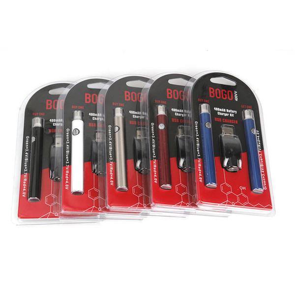 Original Bogo Double 400mAh chargeur de batterie Kit 510 fil LO préchauffage et tension réglable cartouche Vape Pen Batterie pour Thick Oil