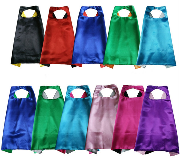 best selling 27 inch plain superhero capes for kids double layer satin capes dress up Super Hero Costumes 11 color match Halloween Christmas Cosplay