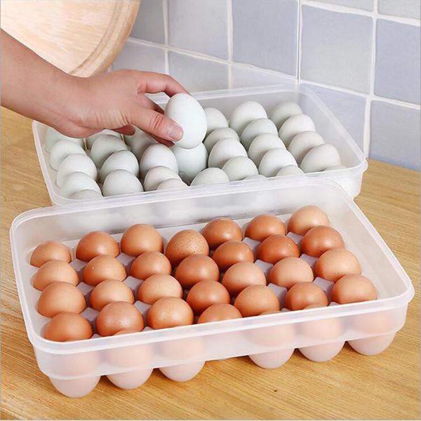 Caja de almacenamiento de huevos 34 Rejilla de una sola capa Organizador de canastas de huevos Caja de almacenamiento de contenedores de alimentos de plástico Hogar Cocina Caso transparente