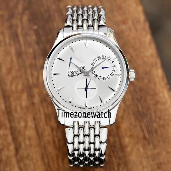 New Master Ultra Thin Reserve De Marche 1378420 Q1378420 Steel Case White Dial Power Reserve Automatic Mens Watch Cheap Timezonewatch E22a1