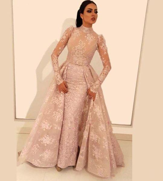 2019 High Neck Long Sleeve Mermaid Lace Prom Dresses Arabic Dubai Detachable Train Formal Evening Dresses Custom Made Party Gowns Cheap