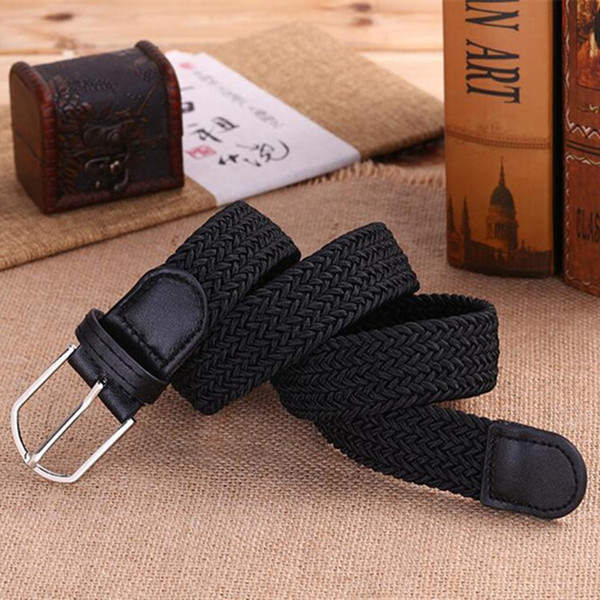 Male Ma'am Leisure Time Belt Joker Weave Degree Of Tightness Canvas Pin Buckle Elastic Force Waist Belt Woman Fund Youth