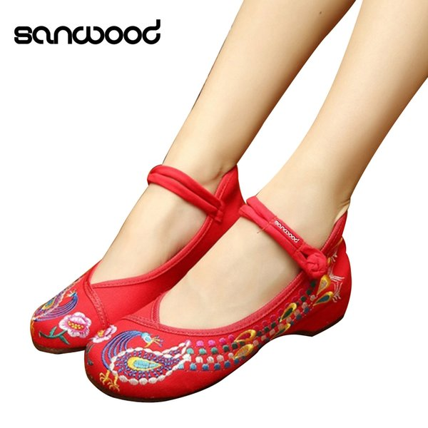 Designer Dress Shoes Chinese Old Peking Style Phoenix Flower Embroidered Mary Jane