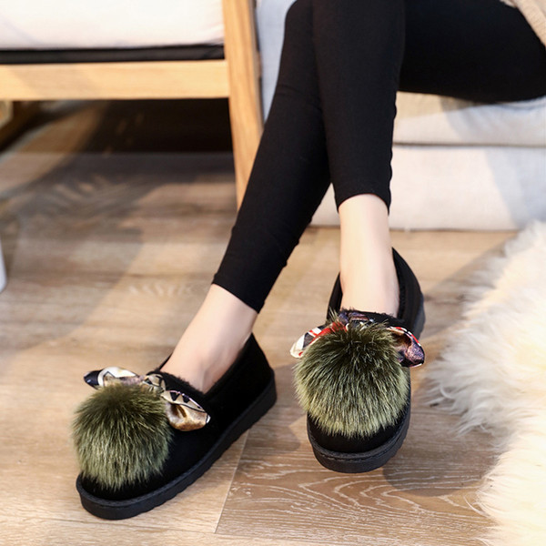 2020 comfortable shoes hair ball women's shoes driving female flat bottom new fashion pea suede soft u12-80