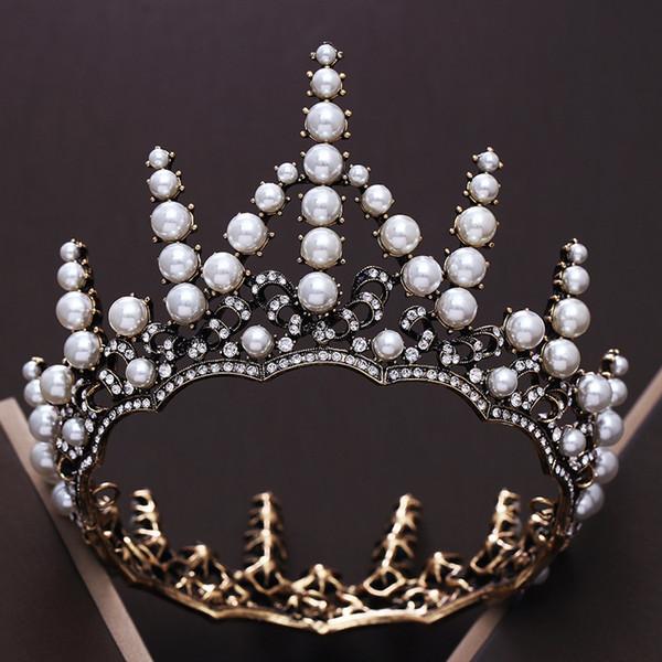 LuxuryVintage Siyah Kristal Düğün Gelinler Taçlar Tiaras Barok Yuvarlak Inci Gelin Taç Barok Düğün Saç Süsler CR174
