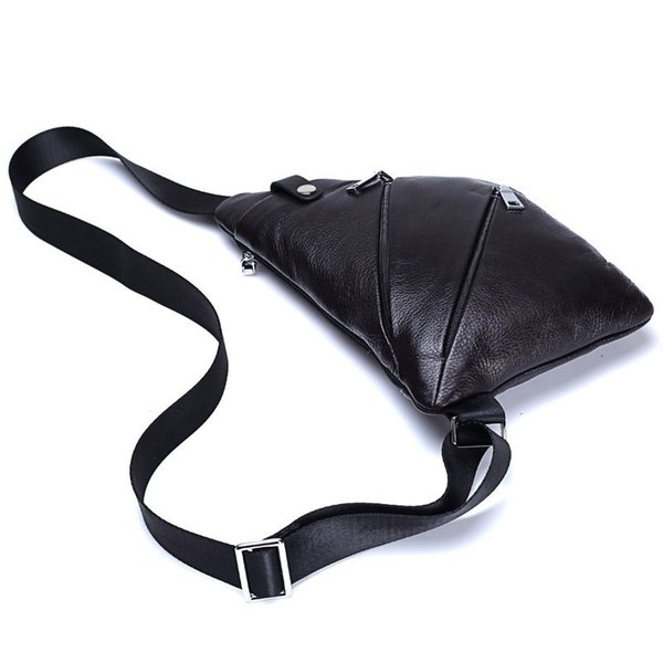 100% Genuine Leather Men Messenger Bags Casual Chest Bag Anti Theft Crossbody Bag For Male Motorcycle Sling Shoulder
