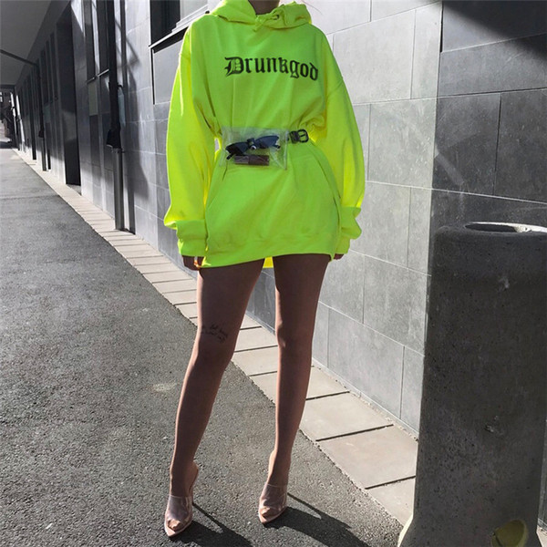 womens hoodies 2019 spring new fashion letter sweatshirt street style fluorescent green pullover casual drawstring loose tops sports