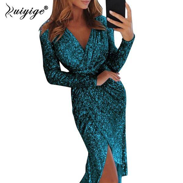 Оптовая 2019 Новая весна Sexy V шеи высокая щелевая платье Партии женщины блеск Bodycon Midi туника платья с длинным рукавом дамы Vestidos