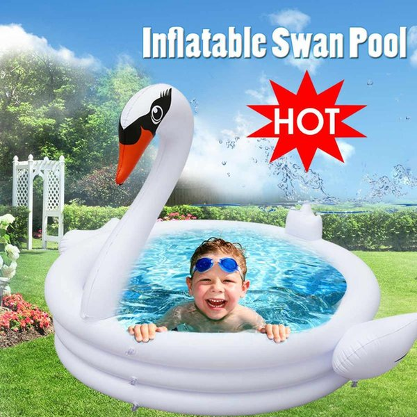 Large Swan Swimming Pool Inflatable for Adults Baby Kids Summer Water Paddling Pool Bathtub Circles Float Toys Hot Summer