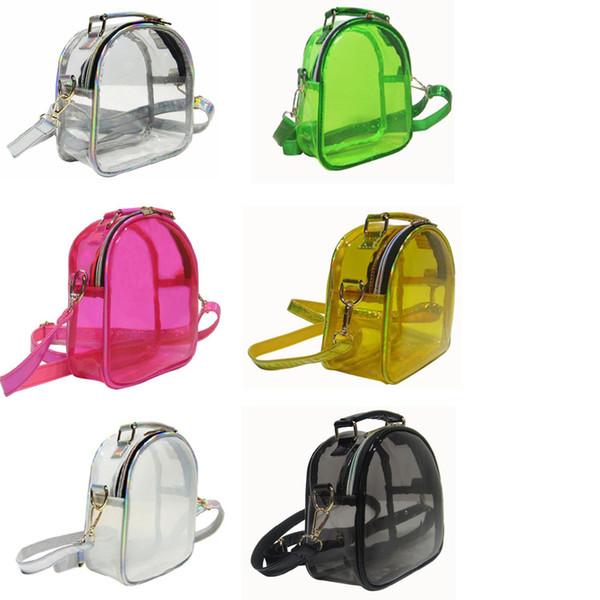 DHL 50pcs Cross body Bag Fashion Women PVC Clear Jelly Large Capacity Zipper Waterproof Shoulder Bags 6colors