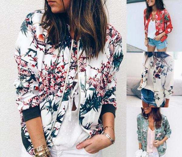 top popular Women Retro Flower Printed Jacket Ethnic Zipper Bomber Collar Coat Casual Outwear floral Autumn Spring Basic Short Biker Jackets LJJA2817 2020