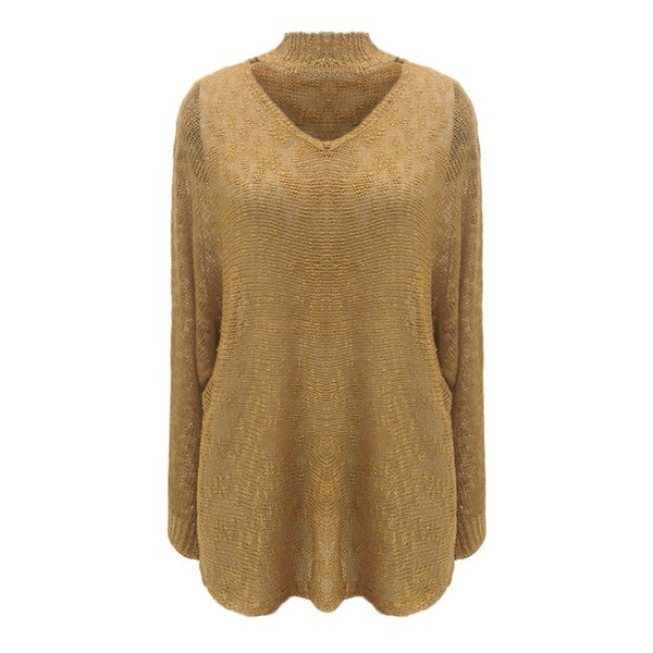 Women Loose Solid Sweater pullover solid turtleneck hollow out knitting Sweater Tops jumper sueter mujer invierno 2019 d90703