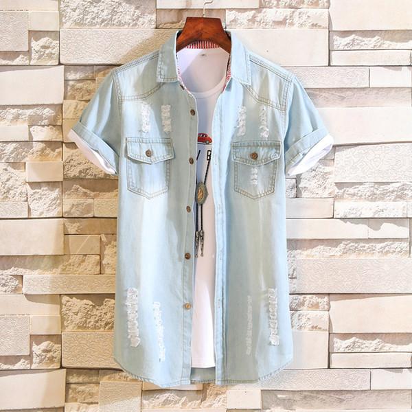 100% coton chemises en jean hommes d'été bleu clair casual chemises en denim de haute qualité hommes manches courtes trous jean taille 3XL