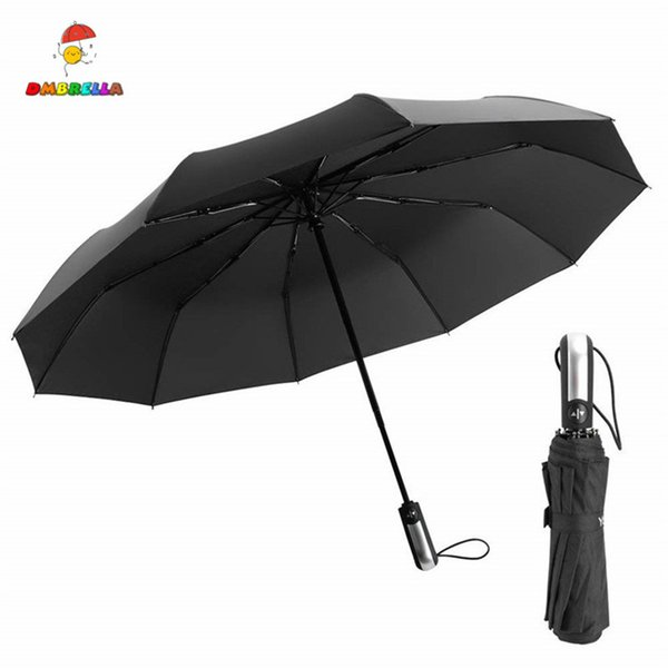 DMBRELLA Wind Resistant Three Folding Automatic Umbrella Rain Auto Luxury Big Windproof Umbrella Men Frame Windproof 10K Parasol