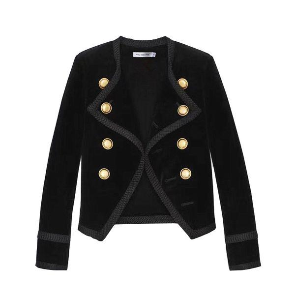 2019 새로운 활주로 디자인 여성 노치 칼라 짧은 재킷 코트 겨울 더블 브레스트 정장 여성 벨벳 블랙 슬림 착실히 보내다